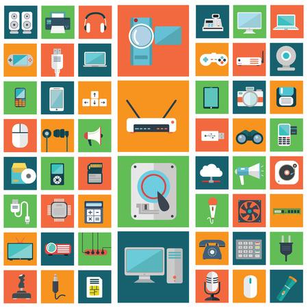 Set van moderne platte elektronische apparaten pictogrammen.