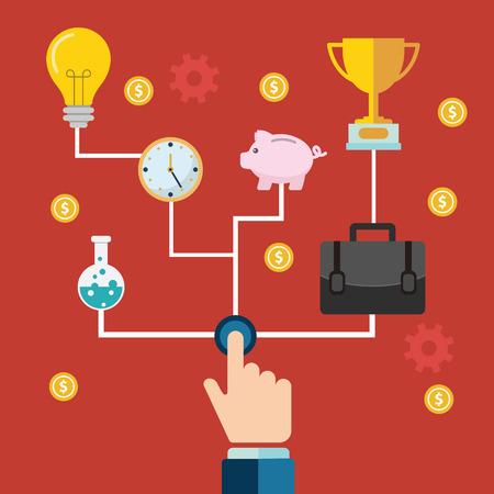 emprendimiento: Concepto de una creaci�n de empresas y el esp�ritu empresarial o lanzamiento con engranajes y ruedas dentadas con varios iconos de la industria y la empresa en poder de las manos uno empujando el bot�n de inicio. Vectores