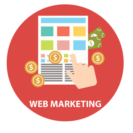 emarketing: Flat design modern vector illustration concept of web marketing internet advertising model when the ad is clicked