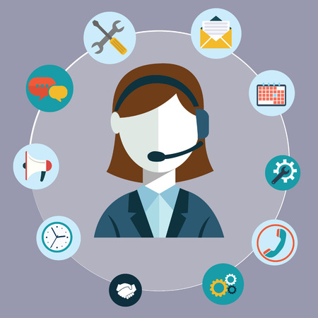 computer operator: Business customer care service concept flat icons set of contact us support help desk phone call