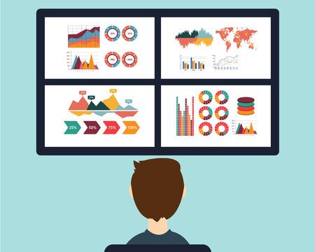 Analyse van informatie op het dashboard. Stock Illustratie
