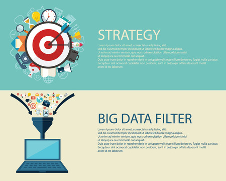 data collection: Flat style business strategy  and big data filter concept.
