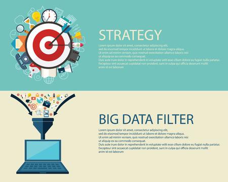Vlakke stijl bedrijfsstrategie en big data filter concept. Stock Illustratie