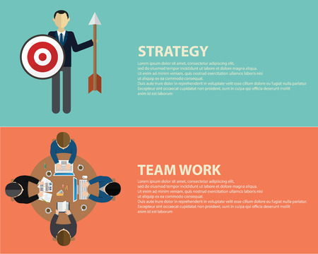 Vlakke stijl business strategie en het team werkconcept Stock Illustratie