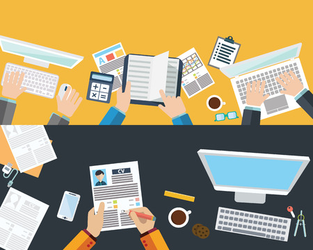 employment agency: Set of flat design illustration concepts for business
