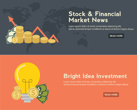 stock market charts: Flat design concepts for business Illustration