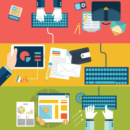 network and media: Set of flat design illustration concepts for website layout