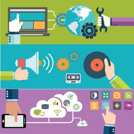 tecnología informatica: Conjunto de planos conceptos de diseño de ilustración para diseño web