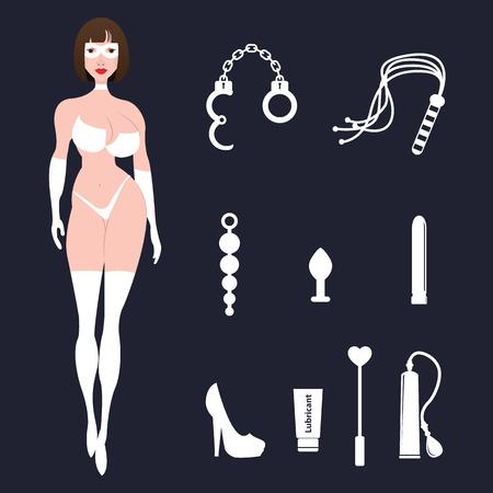 Fetish BDSM sexy vrouw in lingerie met seks speelgoed.