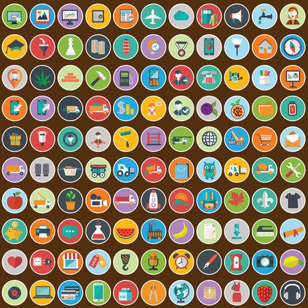 Vlakke pictogrammen ontwerpen moderne illustratie grote verzameling van verschillende financiële dienstverleners artikelen Stockfoto - 39185826