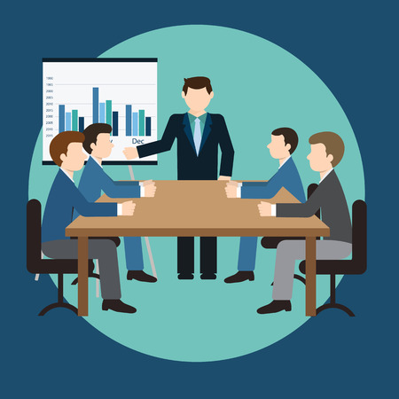 board of director: Business meeting and presentation in an office.