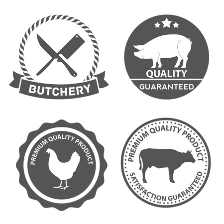 Set of butcher shop labels and design elements Vector