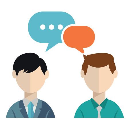 dos personas hablando: Dos empresarios discutiendo Vectores