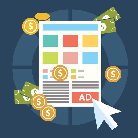 emarketing: Flat design modern vector illustration concept of pay per click internet advertising model when the ad is clicked. Isolated on stylish background.