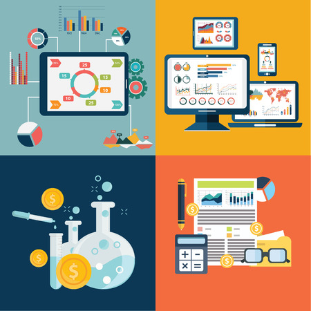 investment strategy: Vector collection of flat and colorful business, marketing and finance concepts. Design elements for web and mobile applications