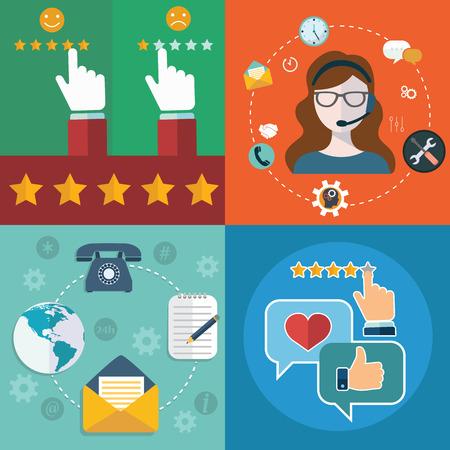 servicio al cliente: Colección de vector de negocio, marketing y finanzas conceptos planos y colores. Los elementos de diseño de aplicaciones web y móviles Vectores
