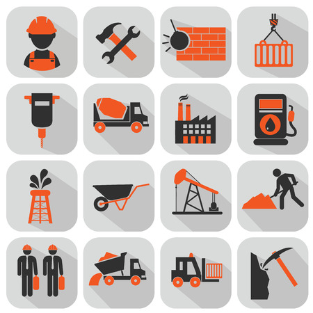 skid steer: vector flat construction icon set on colorful background Illustration