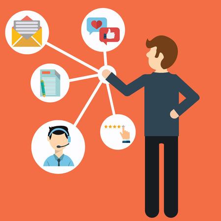comunicação: Customer Relationship Management. Ilustração