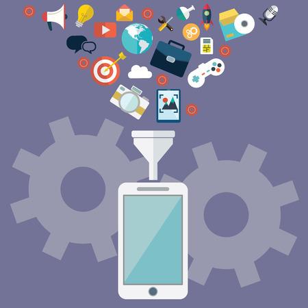 Cloud Datenspeicherung und Datenfilterung auf mobilen und Tablet-Wohnung, Design, Illustration. Standard-Bild - 39186439