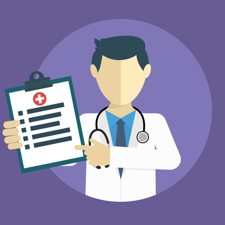 diagnoses: Doctor showing diagnoses flat design. Illustration