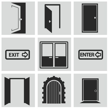 lift lock: Different doors web icons collection.