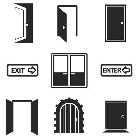 abrir puertas: Diferentes puertas de recogida iconos web.