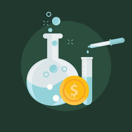 precipitate: Business concept of alchemy experiment for generating money and ideas with laboratory equipments in flat design.