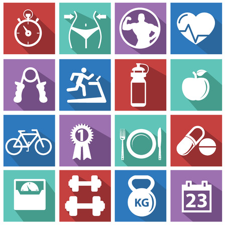 gimnasio mujeres: Fitness y Salud iconos Vectores
