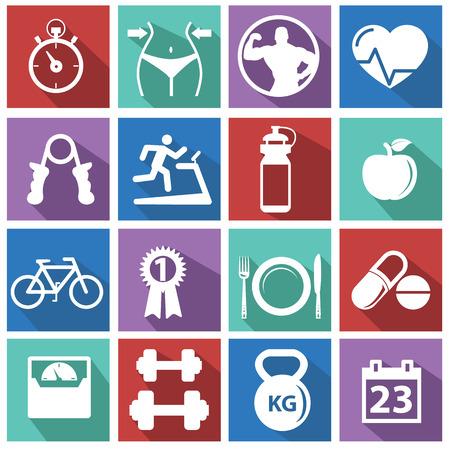 fitness hombres: Fitness y Salud iconos Vectores