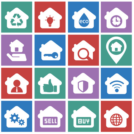 for rental: House and rental icon set, for business