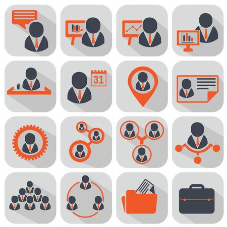 Human resources en management pictogrammen instellen.