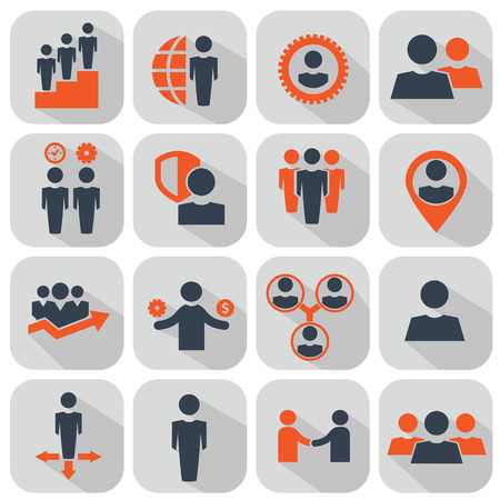 Human resources and management icons set. Ilustrace