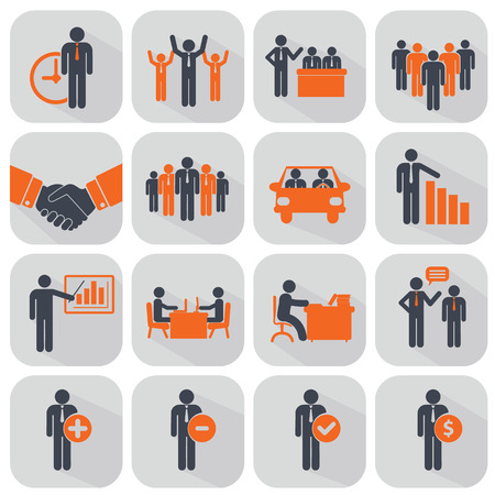 solutions icon: Human resources and management icons set. Illustration
