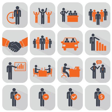 Los recursos humanos y los iconos de gestión establecidos. Foto de archivo - 39186588
