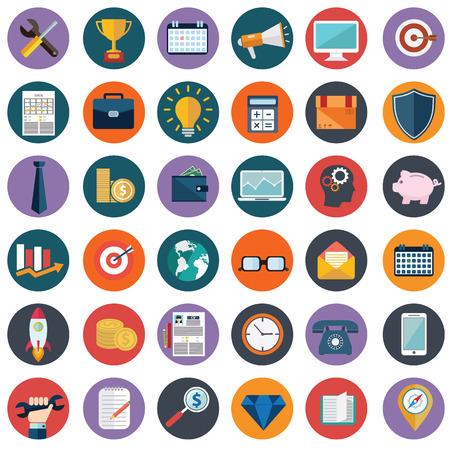 Vlakke pictogrammen ontwerpen moderne vector illustratie grote verzameling van verschillende financiële dienstverleners artikelen, web en technologie-ontwikkeling, business management symbool, marketing artikelen en kantoorapparatuur op de achtergrond