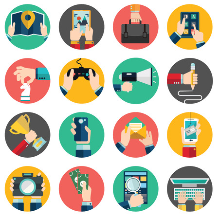 manage: Set of hands using business internet service and ecommerce . Smartphone and tablets. Illustration