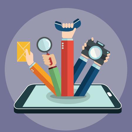 Slimme telefoon concept, met de hand coming out, apps en functies. Stock Illustratie