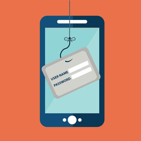 데이터 피싱, 낚시 후크, 휴대 전화, 인터넷 보안에 대한 신용 카드 또는 직불 카드. 플랫 디자인 벡터 일러스트 레이 션.