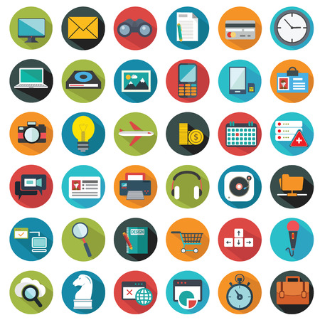 Modern flat icons vector collection with long shadow effect in stylish colors of web design objects, business, office and marketing items Ilustrace