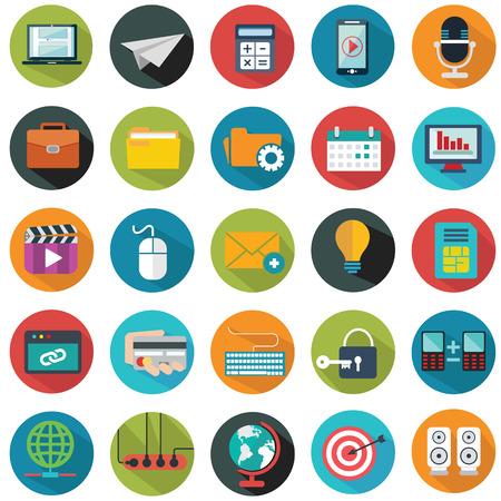 Moderne vlakke pictogrammen vector collectie met lange schaduw effect in de stijlvolle kleuren van web design objecten, het bedrijfsleven, kantoor en marketing artikelen