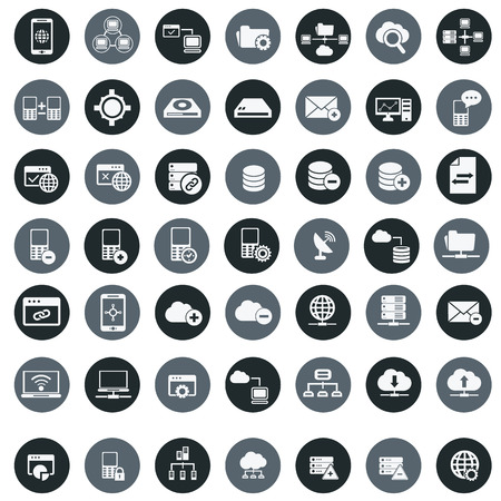 datacenter: Networking  storage and Communication icon set Illustration