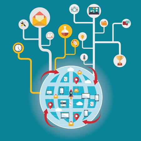 globális kommunikációs: Hálózat és globális kommunikáció, amely összeköti a világot.