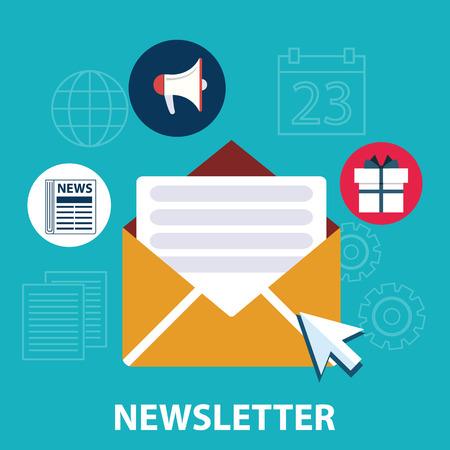 Platte design concept van regelmatig verdeeld nieuwsbulletin via e-mail met een aantal onderwerpen die van belang zijn voor haar abonnees.