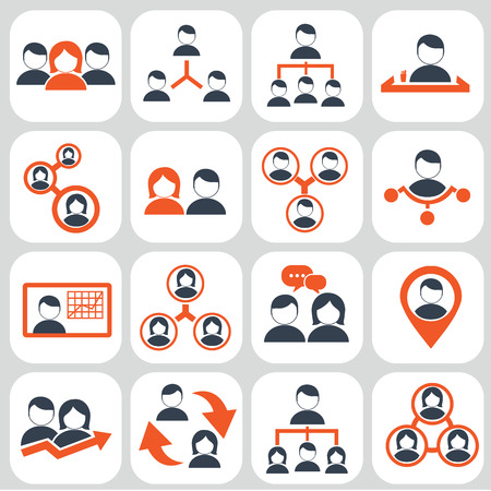 human resource management: Human resources and management icons set. Illustration