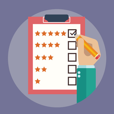 satisfied customer: Rating on customer service illustration.