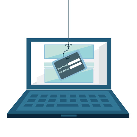Internet Phishing, hacking login and password, internet security concept. Flat design vector.