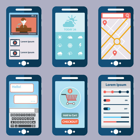 interface elements: collection of modern mobile phones with different user interface elements Illustration