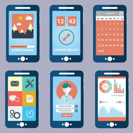 Flat vector verzameling van moderne mobiele telefoons met verschillende elementen van de gebruikersinterface