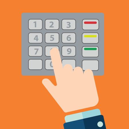 auto teller machine: Press ATM EPP keyboard flat design