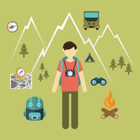 Mountain hiking, nature turist and climbing vector info graphic. Çizim